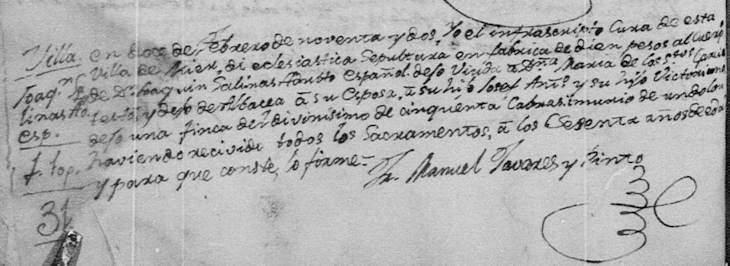 1791 Death Record of Jose Joaquin Salinas