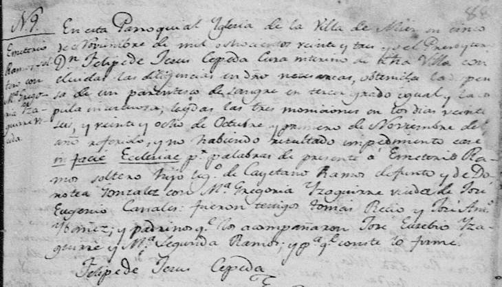 1823 Marriage of Jose Emeterio Ramos and Maria Gregoria Isaguirre