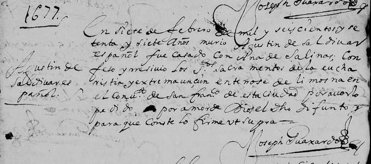1677 Death Record of Agustin de Saldivar