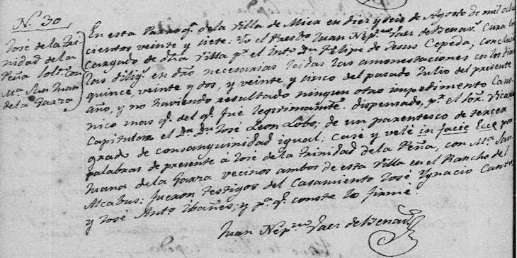 1827 Marriage of Jose Trinidad Pena and Maria San Juana Garza