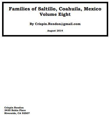 Families of Saltillo, Coahuila, Mexico Volume Eight