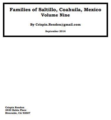 Families of Saltillo, Coahuila, Mexico Volume Nine