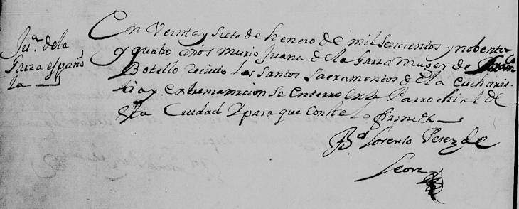 1694 Death Record of Juana de la Garza