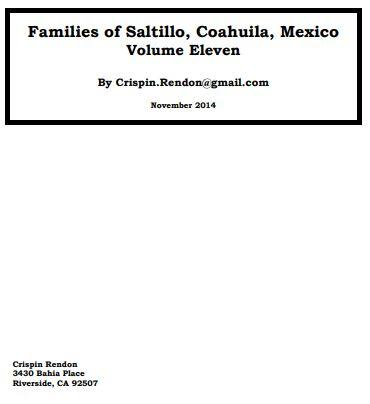 Families of Saltillo, Coahuila, Mexico Volume Eleven