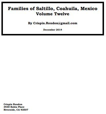 Families of Cerralvo, Nuevo Leon, Mexico Volume Twelve