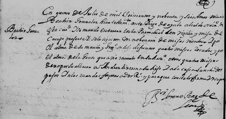 1696 Death Record of Beatriz Gonzalez Hidalgo