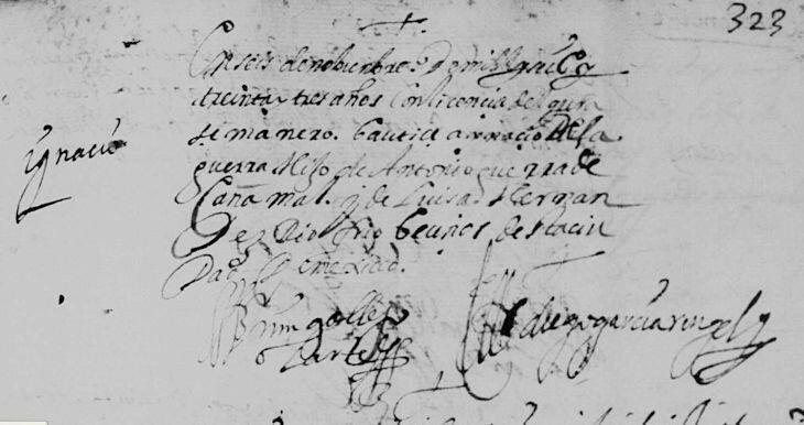 Ignacio Guerra Canamar Baptism Mexico City 1633
