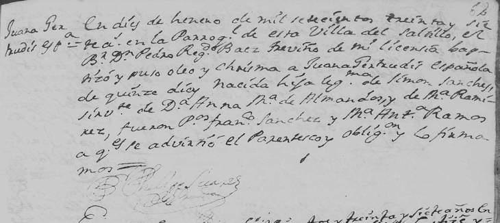 1737 Baptism of Maria Juana Gertrudis Sanchez