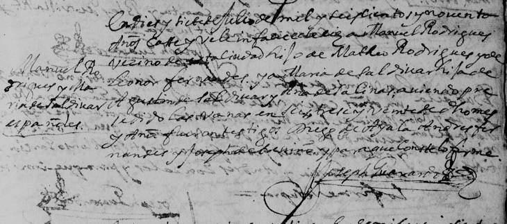 1690 Marriage of Manuel Rodriguez and Maria de Saldivar