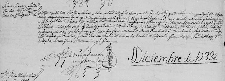 1733 Marriage of Simon Sanchez and Juana Maria Ramirez