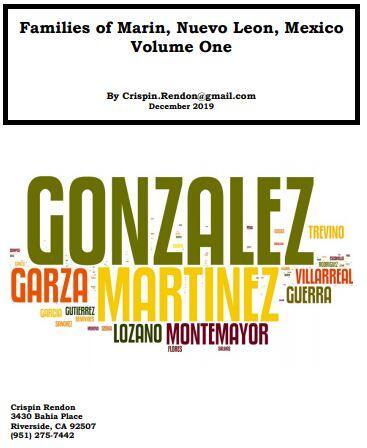 Families of Marin, Nuevo Leon, Mexico Volume One