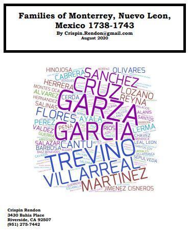 Families of Monterrey, Nuevo Leon, Mexico 1738-1743