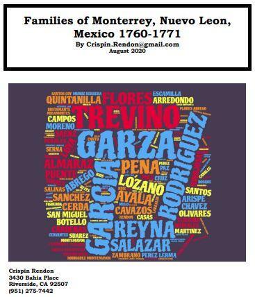 Families of Monterrey, Nuevo Leon, Mexico 1760-1771