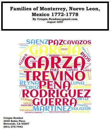 Families of Monterrey, Nuevo Leon, Mexico 1772-1778