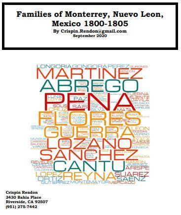 Families of Monterrey, Nuevo Leon, Mexico 17800-1805