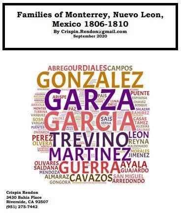 Families of Monterrey, Nuevo Leon, Mexico 1806-1810