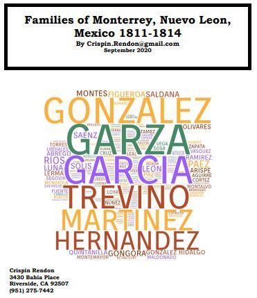 Families of Monterrey, Nuevo Leon, Mexico 1811-1814