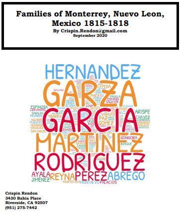 Families of Monterrey, Nuevo Leon, Mexico 1815-1818