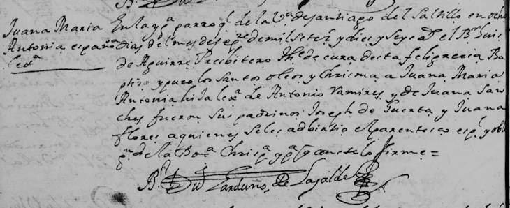 1716 Baptism of Juana Maria Antonia Ramirez