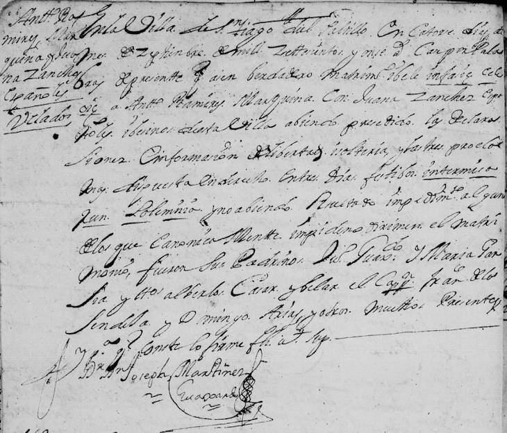 1711 Marriage of Antonio Ramirez and Juana Sanchez
