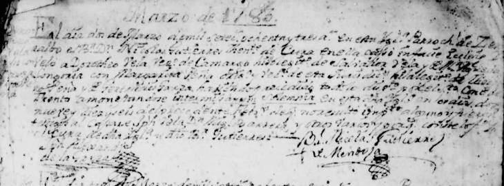 1783 Marriage of Jose Doroteo Vela and Maria Margarita Pena