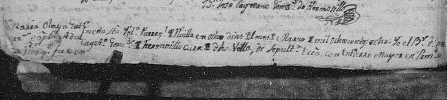 1808 Death of Maria Olaya Gutierrez de Lara