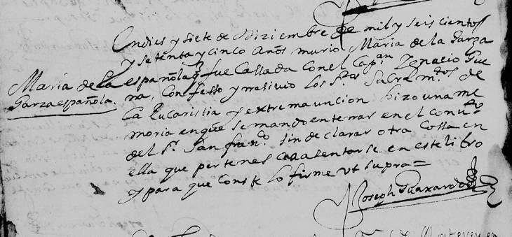 1675 Death Record of Maria de la Garza Cavazos