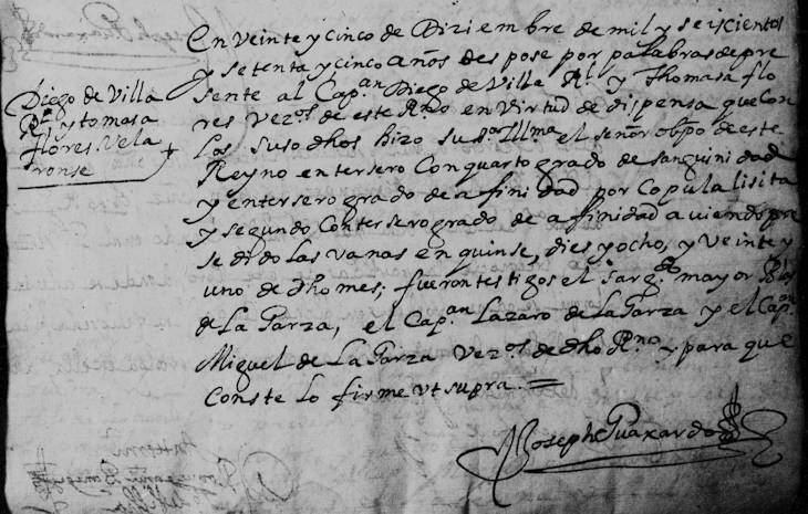 1675 Marriage of Diego de Villarreal and Maria Tomasa Flores