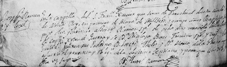 1715 Baptism of Joseph Ramon Guerra
